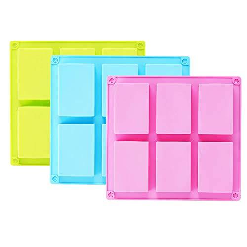3 Pack Silicone Soap Molds, 6 Cavities
