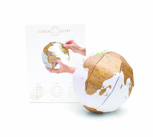 Luckies of London Scratch Globe – Mappamondo da grattare personalizzabile – Scratch Map alternativa – Globo 3D colorato e divertente – Ottimo per studenti – Idea regalo per viaggiatori – Bianco/Oro