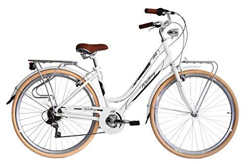 IBK Bicicletta Bici Trekking 28' City Bike Donna Cambio Shimano 7V Vintage, Luci, Portapacchi (Bianco)
