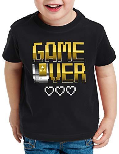 style3 Game Over Camiseta para Niños T-Shirt NES Cartridge Link Oro, Talla:116