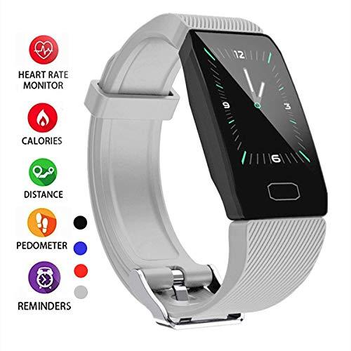 Activity Armband, wasserdicht IP67, intelligentes Armband mit Pulsmesser, Smartwatch für Sport, Schrittzähler, Sportarmband für Android und iOS Handy für Männer Frauen und Kinder, grau