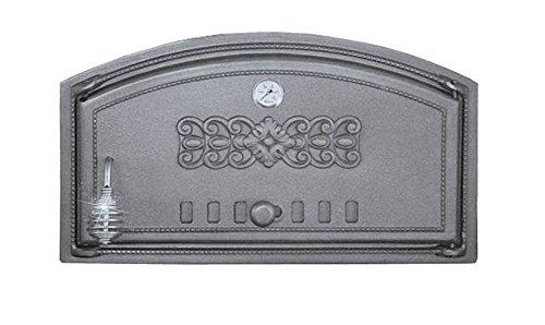 Backofentür Ofentür Pizzaofentür Holzbackofentür Steinbackofentür aus Gusseisen mit Thermometer | Außenmaße: 490x280 mm | Öffnungsrichtung: rechts