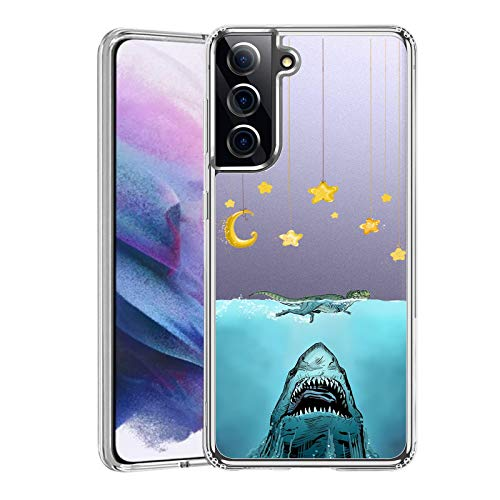 2021 Newly Case for Samsung Galaxy S21 5G Clear Anti-Collision Case Suitable for Samsung Galaxy S21 5G Ultra-Thin Soft Back Case Compatible for Samsung Galaxy S21 5G-Shark Crocodile