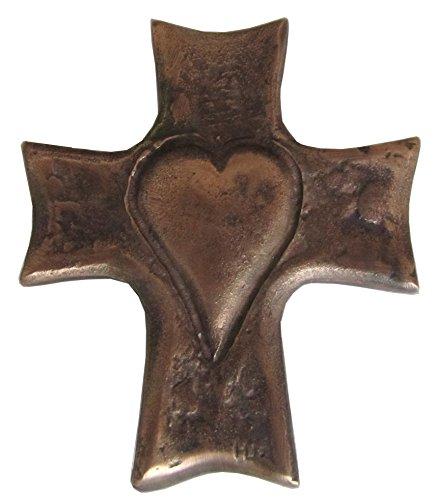 Unbekannt Bronzekreuz Bronze Kreuz Herz Kommunion 8 cm * 7 cm