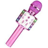 boxoon LEDカラオケマイクワイヤレス歌うカラオケマイクハンドヘルドマイク子供用LEDライト付きKTVマイク