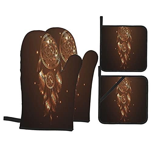 XWJZXS Ofenhandschuhe,Hitzebeständige Topfhandschuhe und Topflappen Set,Mandala Native American Dreamcatcher Motiv Magische Federn Hippie Design auf Sternenhintergrund Thema,für Kochen, Backen