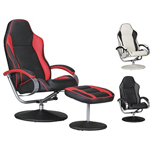 FineBuy Fernsehsessel Speedy TV Design Relax-Sessel verstellbar Racing Modern Bezug Kunstleder schwarz/rot drehbar mit Hocker Racer X-XL 110 kg mit Armlehnen und Hocker Gaming Sessel ohne Motor
