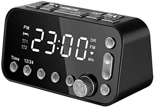 YXFYXF Digitaler Wecker Nachttisch Nachttisch Digital Wecker LED Uhr mit Dual USB DAB/FM Radio 3 Stufen Helligkeit einstellbar Dual Wecker Einstellung Digital Wecker