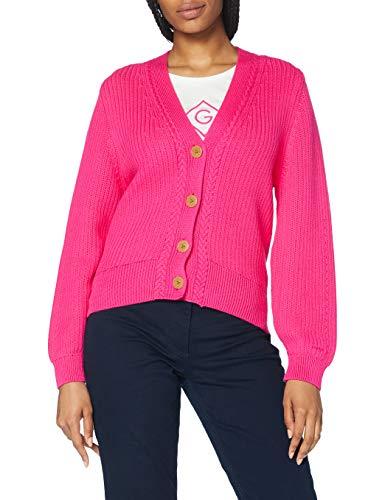 GANT Damen D1. Ribbed V Cardigan Pullover, Rich Pink, S