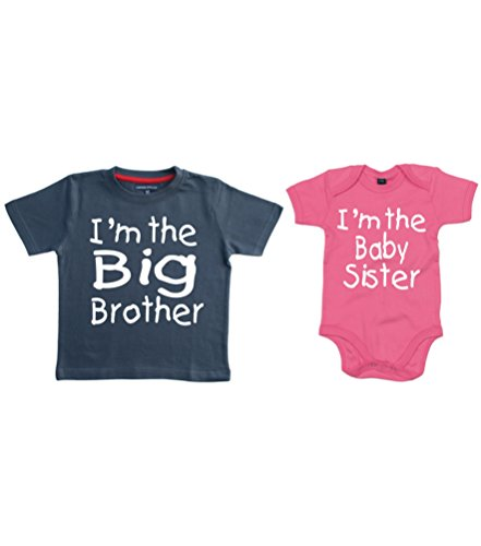 Lot de t-shirts pour bébés avec inscription « I'm the Big Brother » et « I'm the Baby Sister » - multicolore -