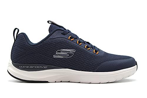 SKECHERS - Zapato Deportivo Casual, con cordón elástico, Suela de Goma, para: Hombre Color: Navy Talla:42