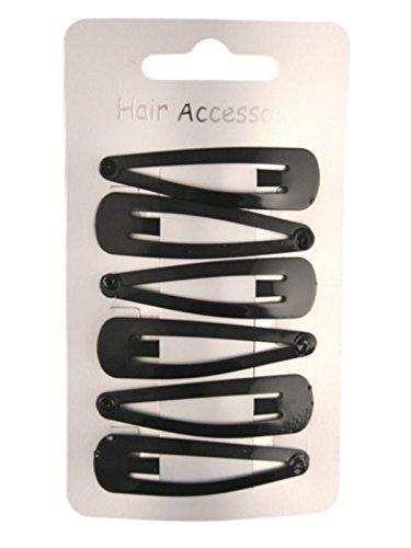 Set of 6 Black Enamelled Metal Hair Clips Snap Bendies Sleepies 5cm (2) by Pritties Accessories
