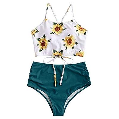 ZAFUL Sunflower Bikini Set Padded Lace Up Ruched Tankini High Waisted Bathing Suit (Greenish Blue, L)