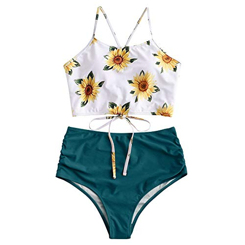 ZAFUL Women's Leaf Print Lace Up Ruched High Waisted Tankini Set Swimsuit (S-Greenish Blue, L)