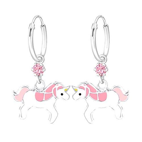 Tata Gisele orecchini da bambino in argento 925/000e cristallo Swarovski trasparente–Unicorno–Rosa