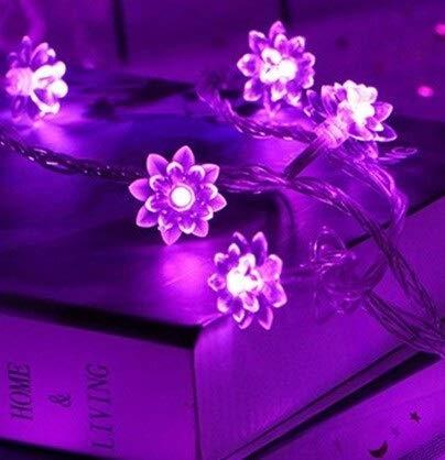 weichuang Fiesta decoración luces LED Lotus String Luces Decoración 3/5/10 M Navidad Año Nuevo Decorativo Lámparas Batería Flash Flor Guirnaldas USB Luz de hadas