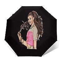 最新の人気の傘 自動開閉式折りたたみ傘 アリアナグランデAriana Grande Honeymoon 傘 防風、防水および紫外線抵抗、持ち運びが簡単で、パーソナライズがいっぱい 学校、旅行、買い物、買い物、仕事、クール時代をリードする