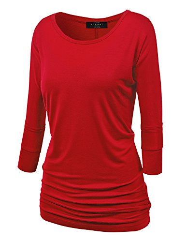 MBJ WT822 Womens 3/4 Sleeve with Drape Top L RED