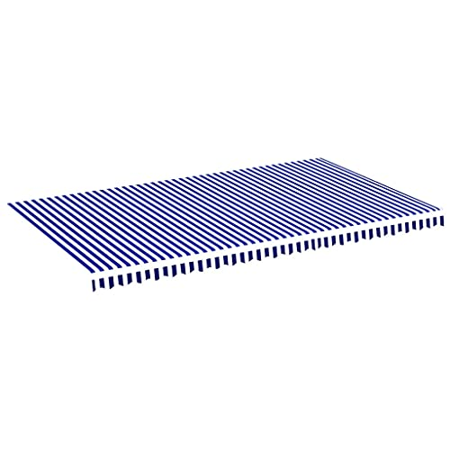 vidaXL Tela de Repuesto para Toldo Parte Superior Dosel Lona Recambio Jardín Patio Terraza Balcón Parasol Refugio Impermeable Azul y Blanco 6x3,5 m