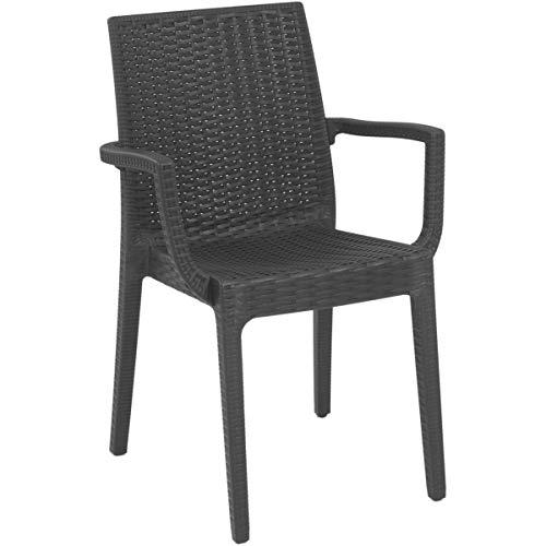 areta are056 Chaise, modèle Dafne avec accoudoirs, Anthracite, 55 x 54 cm
