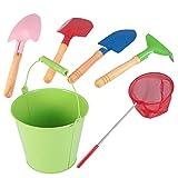 BESPORTBLE Juego de 6 juguetes de arena para la playa con palas, rastrillos, cubo de playa, red telescópica, caja de arena para niños pequeños