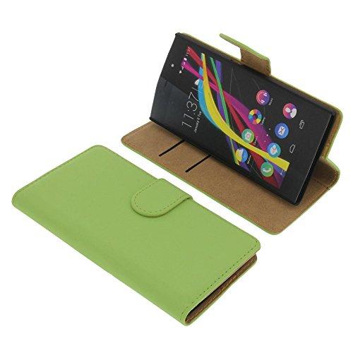 foto-kontor Tasche für Wiko Highway Star Book Style Grün Kreditkarte Schutz Hülle Buch