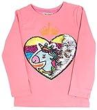Unicorn Flip Heart Sequin Girl's T-Shirt Short/Long Sleeve 4-12 Years (8, Long Peach Shirt Only)