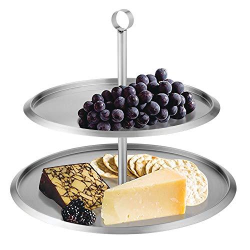 mDesign Base para tartas redonda de acero cepillado – Expositor de tartas moderno con 2 pisos – Bandeja para pasteles, cupcakes, galletas, fruta y tapas – plateado