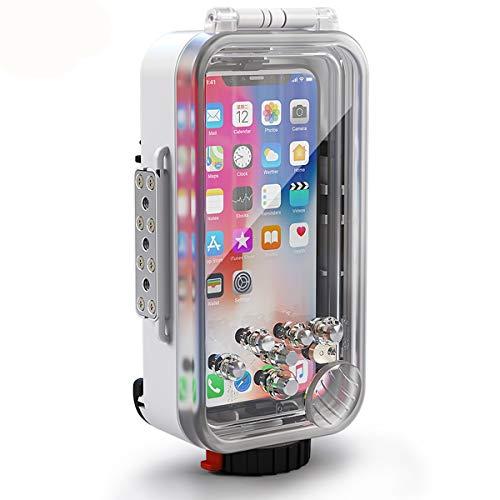 BECROWMEU Custodia subacquea per iPhone X XS compatibile con custodia subacquea [60m / 195ft] Custodia subacquea per immersioni Surfing Nuoto Snorkeling Foto video con cordino bianca