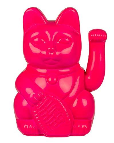 Gato de la suerte Maneki Neko (rosa caliente, 20 cm)