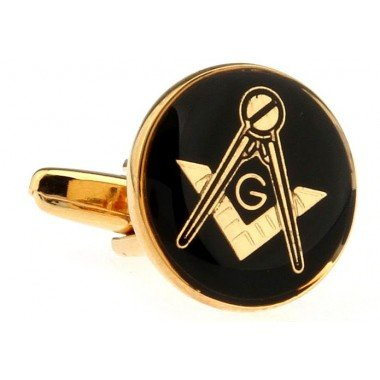 Memyseli Round Mansonic Black Gold Cufflinks In A Gift And Presentation Box