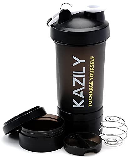 KAZILY(カズリー) プロテイン シェイカー シェーカーボトル シェイカーボール付き サプリメントトレー(×2)付き 大容量 600ml
