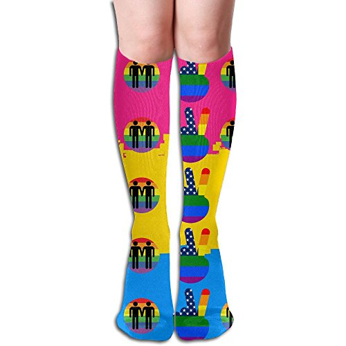 HAIRUIYD Knee High Socks LGBT Gay Lesbian 'Pride' Women's Work Stance Athletic Over Thigh High Stockings