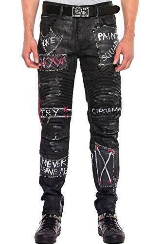 Cipo & Baxx Pantalones vaqueros de corte recto para hombre, diseño ro