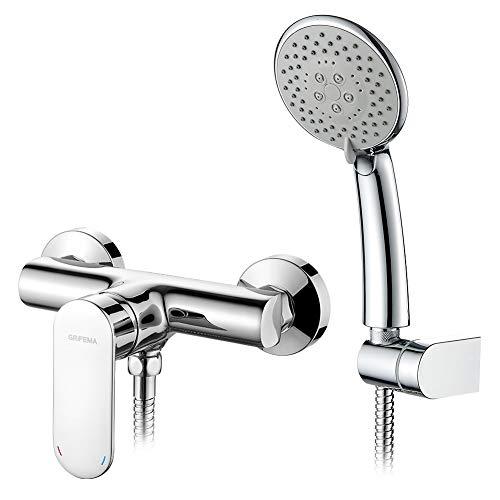 GRIFEMA BERLIN-G12004 | Duscharmaturn - Brausebatterie mit Brauseschlauch, Handbrause, Brausehalter | Einhebel - Brausemischer - Duschsystem, 1 Verbraucher, Chrom