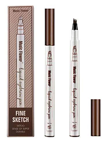 Tattoo Eyebrow Pen con Cuatro 4 Puntas Duraderas Brow Gel Para Maquillaje de Ojos- Lapiz de Cejas Waterproof