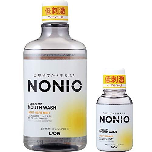 【Amazon.co.jp限定】 NONIO(ノニオ) [医薬部外品] マウスウォッシュ ノンアルコール ライトハーブミント 洗口液 600ml +ミニリンス80ml