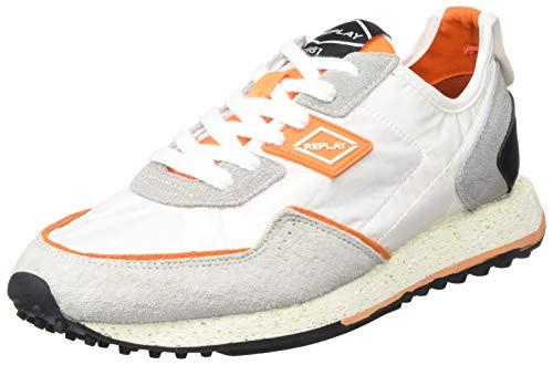 REPLAY Herren R-81 Sneaker, Mehrfarbig (076 White Orange), Mehrfarbig (076 White Orange), 44 EU