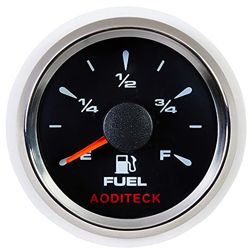 AODITECK 8 Scale Black Fuel Gauge Universal Marine for Boat Vehicles RV Car Truck Oil Automotive Replacement Gauge Aftermarket Fuel Level Gauge 0-190ohm 240-33ohm 240-30ohm 0-180ohm 10-180ohm