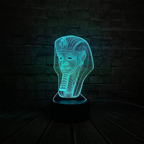 Groothandel Rc 3D Egyptische Sfinx Farao Led Lamp USB Nachtlampje Touch Afstandsbediening Kleuren veranderen Room Decor Gift3D Illusie Optische Lamp Slaapkamer