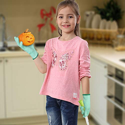 EVRIDWEAR Kid Sized Cut Resistant Work Gloves for Kitchen Use, Crafts, DIY, Garden and Yard works. Children Food Grade Kevlar Safety Gloves for Hand Protection from knives and Scissors M Green