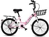 Bicicletas Bicicletas para niños, bicicleta plegable infantil Estudiante de 16 pulgadas Estudiante Plegable Bicicleta Chica de 6-12 años de edad Pink Bicycle Al aire libre Montaña Bike Road Ciclismo B