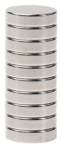 BYKES 10 Neodymium Super Strong Extremely Powerful Rare Earth Refrigerator Magnets 1/2 x 1/8 Inch Disc N48