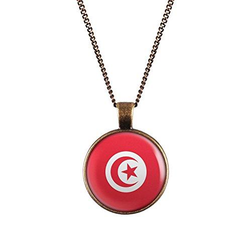 WeAreAwesome Tunesien Flagge Halskette - Länderkette mit Fahne Anhänger Unisex Kette Afrika