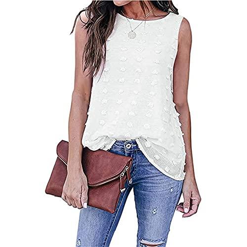 Shirt Mujer Verano Cuello Redondo Color Sólido Pom Gasa Mujer Camiseta Sin Mangas Personalidad Exquisito Diseño Colocación Simplicidad Citas Ropa Diaria Mujer Tops Sin Mangas A-White M