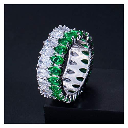 XYBH Timbre de Timbre 925 Anillo de Bodas de Plata esterlina Anillo de eternidad Femenino Regalo Grande for Las señoras Amor Anillo (Gem Color : R5854 Green, Ring Size : 9)