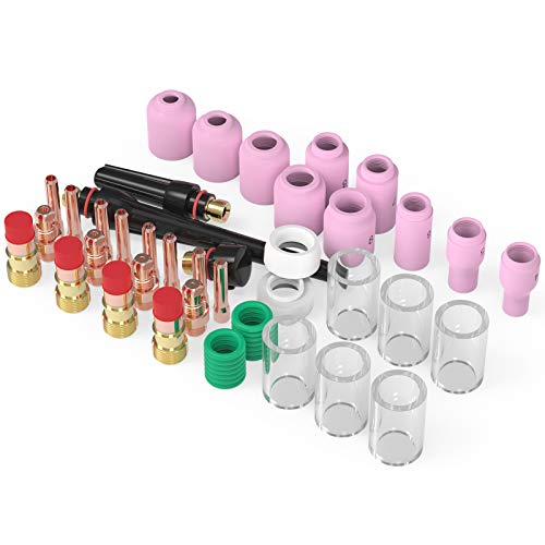 YESWELDER 45PCS TIG Welding Torch Stubby Gas Lens #10 Pyrex Glass Cup Kit For WP-17/18/26