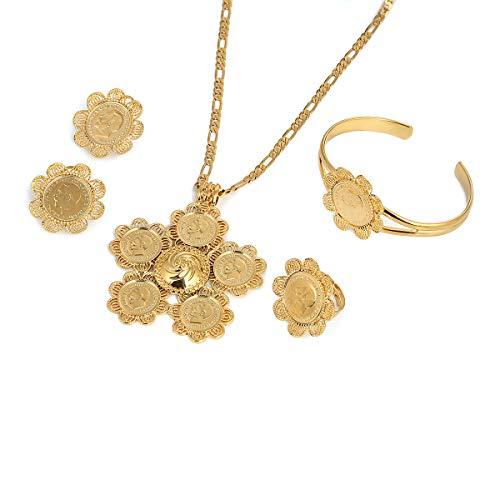 BR Gold Jewelry Schmuckset für Damen und Herren, äthiopisches großes Kreuz, Goldfarben, Schmuck, Afrika-Münze, Kreuz, Eritrea, Habesha-Schmuck