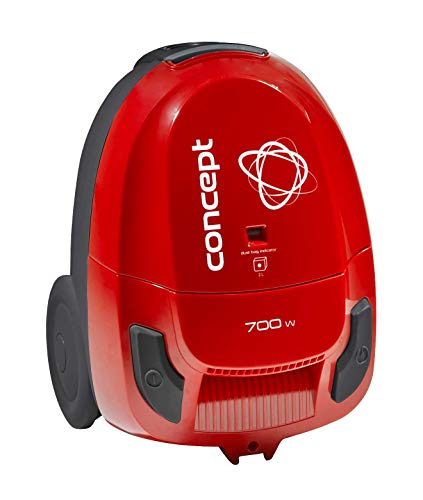 CONCEPT huisapparaten VP8033 Compact 700 W vacuüm cleaner met Upholstery and Brush Nozzle, db 80, Red, Bag Capacity 2l, Plastic, Small