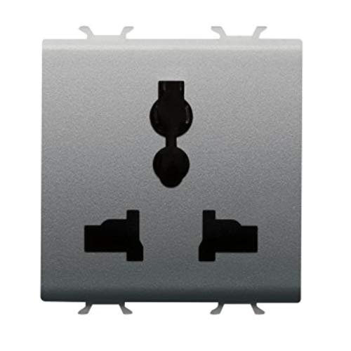 Enchufe multiestándar 2P+T, 13A/250 Vca, 15A/127Vca, 2 módulos, serie Chorus, 3,77 x 4,42 x 4,4 centímetros, color titanio (Referencia: GW14310)